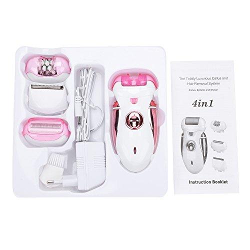 DEWIN Epilierer - Frauen 4-in-1-elektrischer nachfüllbarer Epilierer Haar-Abbau-Rasierapparat Fußpflege-Maniküre zum Schleifen der Fußhaut Rasieren Zupfen (EU Rosa)