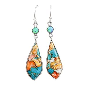 andy cool Premium Quality Shining Rhinestone Earring for Women,Vintage Women Jewelry Faux Turquoise Rhinestone Dangle Ear Hook Drop Earrings - Colorful