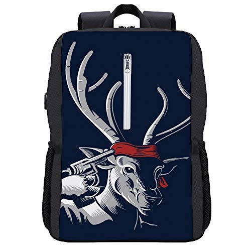 Deer Hunter Parodie Rucksack Daypack Bookbag Laptop Schultasche mit USB-Ladeanschluss