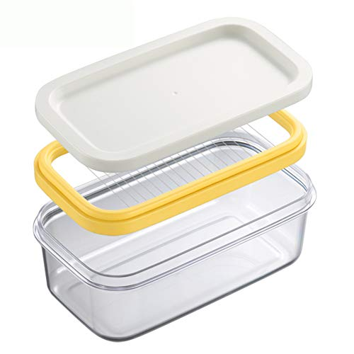 Sziqiqi Butter Tub Box with Lid and Slicer for Butter Stick Storage and Slicing Airtight Butter Keeper Kitchen Refrigerator Storage ABS Plastic Container 200g/7oz, Stainless Steel Line Cutter