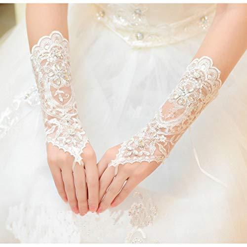 JHLWLS Hochzeitshandschuhe Zarten Perlen Pailletten Hochzeit Handschuhe Fingerlose Elfenbein Weißer Spitze Brautjungfern Handschuhe Kurze Brauthandschuhe Braut Accessoires