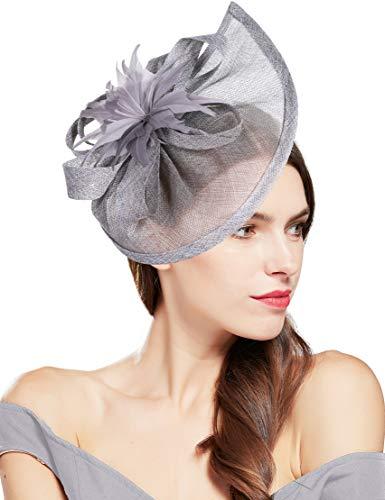 Coucoland Chapeau bibi élégant pour femme - Avec fleurs - Pour mariage, cocktail, thé, fête, Derby - Accessoire pour femme - Gris - Taille Unique