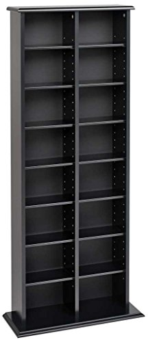 Prepac Double Media (DVD,CD,Games) Storage Tower, Black