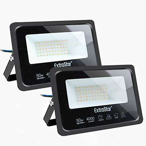 Focos LED exterior 50W Extrastar Potente Luces Led Exterior IP65, Luz de Seguridad Blanca Cálida 3000K para Terraza, Jardín, Patio, Parque, Garaje [Clase de eficiencia energética A+]2 paquetes