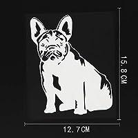 ステッカー剥がし 12.7CMX15.8CMフレンチブルドッグ動物の犬のシルエットビニール車ステッカーブラック/シルバー ステッカー剥がし (Color Name : Silver)