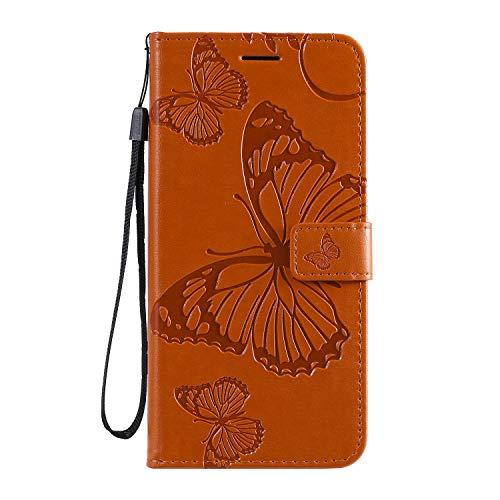 Jeewi Hülle für Moto G8 Hülle Handyhülle [Standfunktion] [Kartenfach] [Magnetverschluss] Tasche Etui Schutzhülle lederhülle klapphülle für Motorola Moto G8 - JEKT041786 Orange