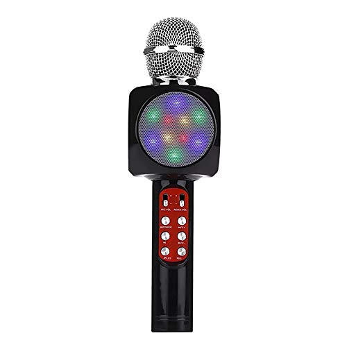 YQK Handfunkmikrofon USB-Player, LED-Leuchten Tragbare Bluetooth-Lautsprecher Karaoke 3.5mm Kopfhörerstecker für AusgangsKTV Outdoor Partymusik,A