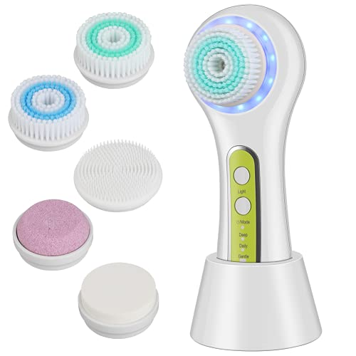 Electric Facial Cleansing Brush, JLAA Rechargeable IPX7 Waterproof Face Brush with 3 Modes, 5 Brush Heads for Exfoliating, Massaging and Makeup Blending