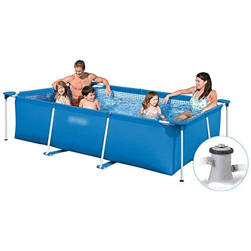 Qazxsw Piscina de pie/de tubería Rectangular Piscina móvil portátil/Grande Familia Niños Simple Pescado al Aire Libre Estanque,Azul,260 * 160 * 65cm