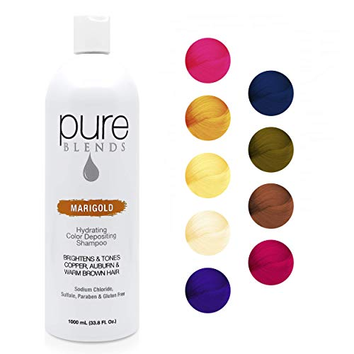 Pure Blends Marigold Hydrating Color Depositing Shampoo - Infused with Keratin & Collagen to Repair Dry & Damaged Hair - Eliminate Color Fade - Sulfate, Sodium Chloride, Paraben & Gluten-Free - 33.8Oz