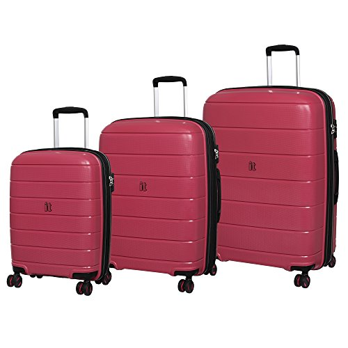 it luggage Asteroid 8-Wheel Hardside Expandable Spinner, Rose Red, 3-Piece Set
