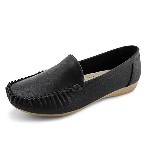 JABASIC Women Slip On Loafers Casual Breathable Walking Flat Shoes (6,Black-1)