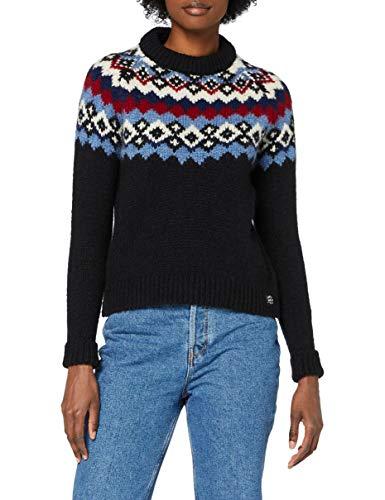 Superdry Montana Jacquard Crew suéter, Azul Marino Oscuro, M (Talla del Fabricante:12) para Mujer