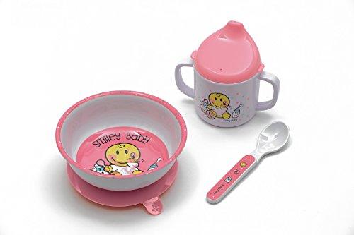 Zak Designs 6706-3380 Smiley Set 3pcs: Bol à Ventouse, mug & cuillère-Baby Rose, Autre, 45x35x25 cm