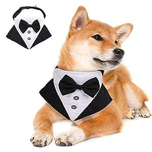ROZKITCH Dog Wedding Bandana Adjustable Formal Tuxedo Bandanas with Bowtie, Medium Large Dog Costume Tail Collar Neckerchief Pets Elegant Gentle Scarf for Wedding Party Gift and Birthday Occasions