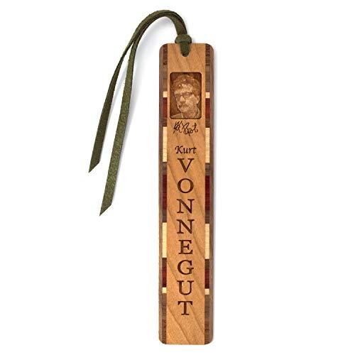 Autor–Kurt Vonnegut # 2Gravur Holz Lesezeichen mit Quaste