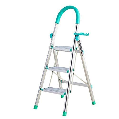 ADSE Escalera de 3 escalones / 4 escalones, escaleras de Mano de Acero Plegables portátiles, Cocina telescópica Resistente con Alfombrilla Antideslizante, Capacidad de 330 Libras - Verde