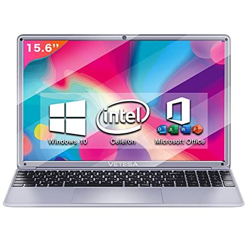 ノートパソコン【MS Office 2016搭載】【Win 10搭載】日本語キーボード テレワーク応援 インテル Celeron N4020 1.6GHz/メモリー:4GB/高速SSD:64GB/IPS広視野角15.6型液晶/Webカメラ/10キー/USB 3.0/miniHDMI/無線機能/Bluetooth/超軽量大容量バッテリー搭載/ノートPC laptop 在宅勤務・カメラ付き・Zoom VETESA N15DP1