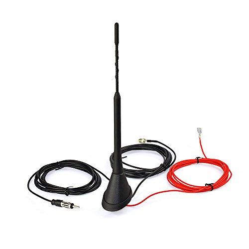 Eightwood DAB DAB + Antenna Auto Amplificata Splitter Connettore FME a DIN Supporto Universale tetto Antenna FM digitale Cavo di prolunga da 16.4 piedi Compatibile con autoradio AM/FM Pioneer Alpine