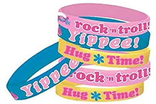 amscan Rubber Bracelets | Trolls Collection | Party Accessory, Multicolor, One Size (397978)