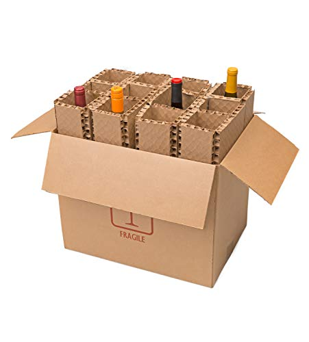 """U-Haul Corrugated 12 Bottle Wine Shipping, Moving, & Packing Kit - Includes a 17-7/8"""" x 12-1/8"""" x 14-1/2"""" Box & Corrugated Protection Inserts"""