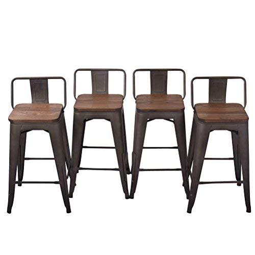 Tongli Metalen Barkrukken Set Industriële Keuken Counter Kruk (Pack van 4) Patio Eetstoel