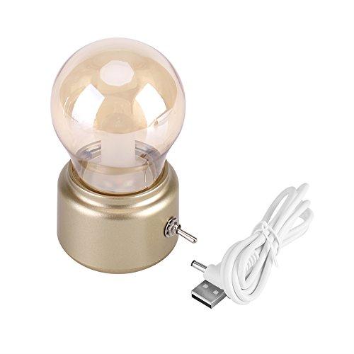 Retro Lamp, Mini Retro LED Lamp USB Oplaadbaar Nachtlampje Vintage Nachtkastje Bureaulamp DC 5V met metalen hendelschakelaar(goud)
