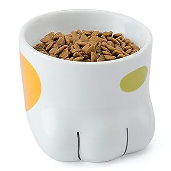 PETTOM Gamelle Chat Surélevée (1x150ml), Bol Chat en Céramique, Gamelle Orthopédique en Forme de Patte pour Alimentation/Eau