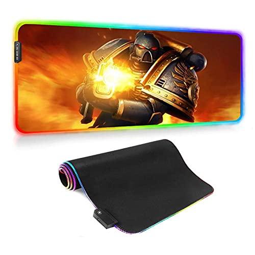 Tapis de Souris Gaming Warhammer 40K Grand Tapis de Souris RGB Gaming LED Tapis de Clavier Coloré pour Pc Tapis de Bureau de Jeu D