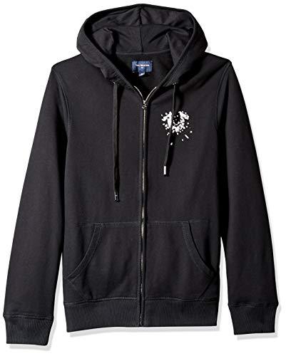 True Religion Men's Zip Hoodie with Metallic Shattered Horseshoe Logo, Black, XL
