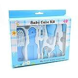 Hwint 8Pcs Baby Health Care Set Peine Cepillo para el cabello Tijera Dispositivo de caída de medición Pinzas Termómetro Herramienta (BLUE)