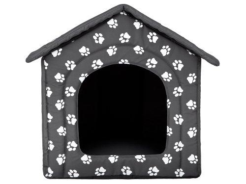 Hundehöhle mit Pfoten Katzenhöhle Hundehütte Hundebett Katzenbett Hundehaus S-XL (XL 60x55cm) - 5