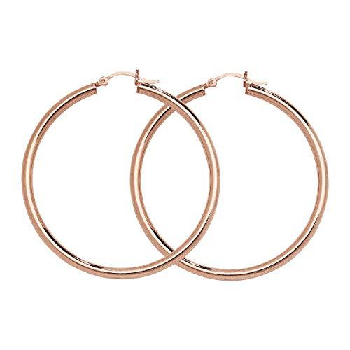 Aeon Kreolen-Ohrringe aus Sterlingsilber, rosévergoldet, hypoallergen, für Damen, Silber-Ohrring für Frauen, Komfort,...