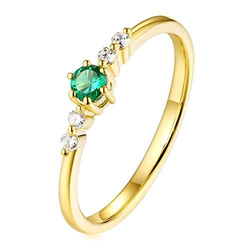 AueDsa Anillos Verde Anillos de Oro Amarillo 18K Mujer Redondo Diamante Esmeralda Verde Blanca 0.1ct Anillo Talla 22