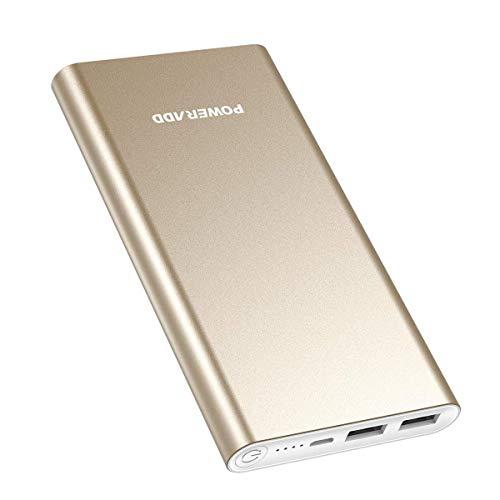 POWERADD Pilot 2GS Aluminumoptik Externer Akku Handy Ladegerät mit 10000mAh Höhe Kapazität und Dual USB Anschlüsse