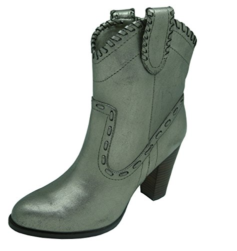 Buffalo London 411-10173 Leather METALLIC PU 152406 Damen Westernstiefel Cowboystiefel, grau (Grey 296), EU 36