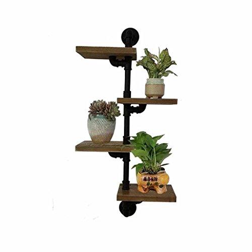 CHUDAN+ smeedijzeren wandplank massief hout retro waterpijp muur opknoping muur plank boek plank decoratieve bloem standaard zwart