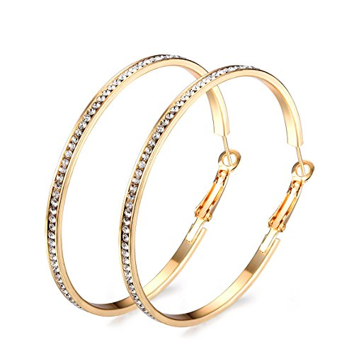 Junxin Eternity Rhinestone stainless steel Hoop Earrings Gold Plated silver Plated,Gift For Women And Girls (Gold)