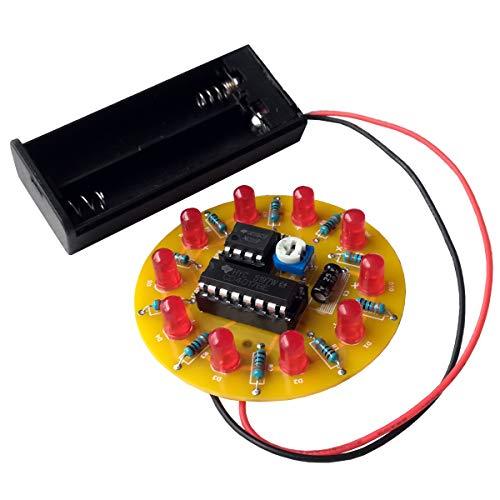 iCubeSmart Kit DIY Electrónico de Luz Giratoria LED, Juego de Soldadura, Adecuado para Diseño de Curso Electrónico, Juego para Práctica de Soldadura