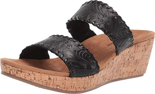 Minnetonka New Women's Bertie Wedge Slide Sandal Black 7