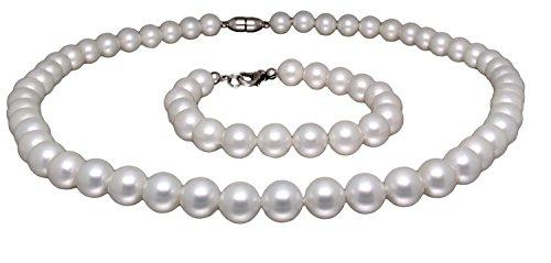 Collar con pulsera compuesto de barniz blancas perlas