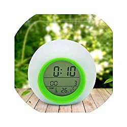 Little lemon Creative Digital Alarm Clock Colorful Kids Wake Up Table Clocks Alarm Clocks Thermometer Snooze Desk Clock Home Decoration,Green