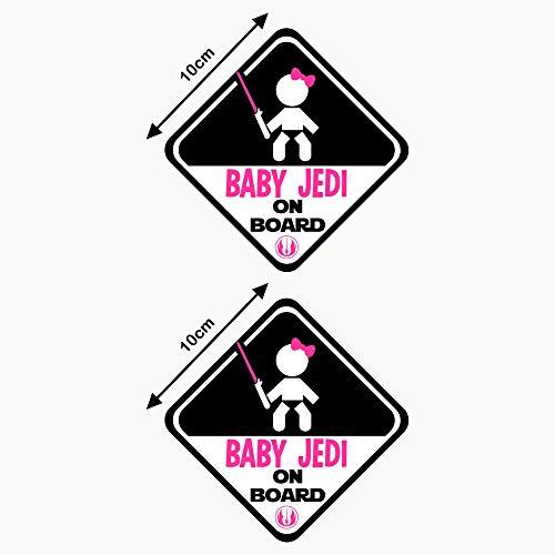 Autodomy Pegatinas Baby Jedi Niña Baby On Board Bebé a Bordo Baby in Car Pack 2 Unidades para Coche (Uso Externo)
