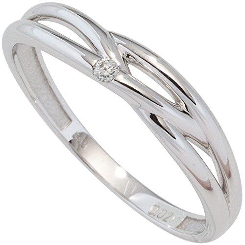 JOBO Damen-Ring aus 585 Weißgold mit Diamant Größe 60