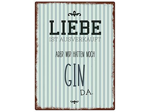 Interluxe WANDSCHILD metalen bord Liefde IS UITVERKOOP Gin othek Ginbar Ginlover cadeau-idee