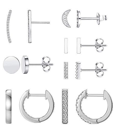 Earrings for Women Hoop Huggie Girls Ear Piercing Minimalist Cuff Mini Bar Dainty Stud (14 Pairs Set) Silver