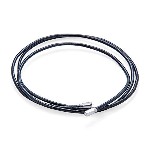 Bling Jewelry Einfache Starke Glatte Echte Schwarze Leder Schnur Seil Lariat 925 Sterling Silber Tipps Halskette Für Frauen Für Männer 27 Zoll