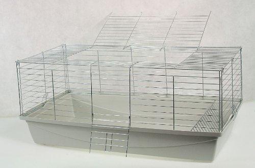'Cage à rongeurs Cage pour lapin, cochon Cage, cage, Rabbit, lapin nain env. 100 x 54 x 43 cm Gris \