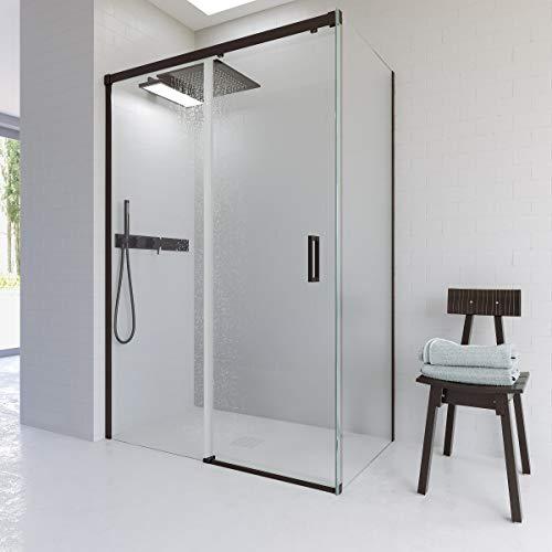 VAROBATH Mampara de ducha rectangular BASIC Negro angular 2 fijos-1 puerta corredera....