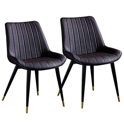 2 stuks luxe stoelen eetkamer keuken kunstleer stoelverdikking retro stoelen eetkamer met leuning metalen poten voor woonkamer stoel receptkamer eetkamer woonkamer koffie Bruin